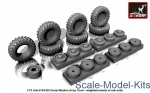 AR-AC7321b Wheels set 1/72 weighted w/ late hubs for Ural-375/4320